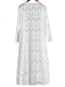 Mesh 3/4 Sleeve Long Cover Up - WHITE L