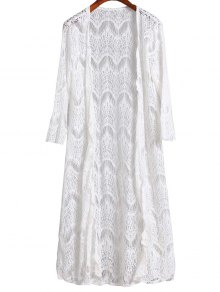Mesh 3/4 Sleeve Long Cover Up - White S