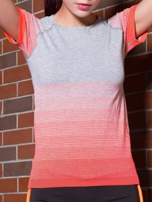 Gradient Couleur Stretchy T-shirt - Tangerine