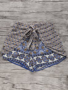 Bohemian Printed Wide Leg Shorts - L