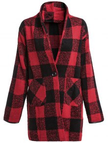 Buy One Button Plaid Big Pocket Wool Coat L