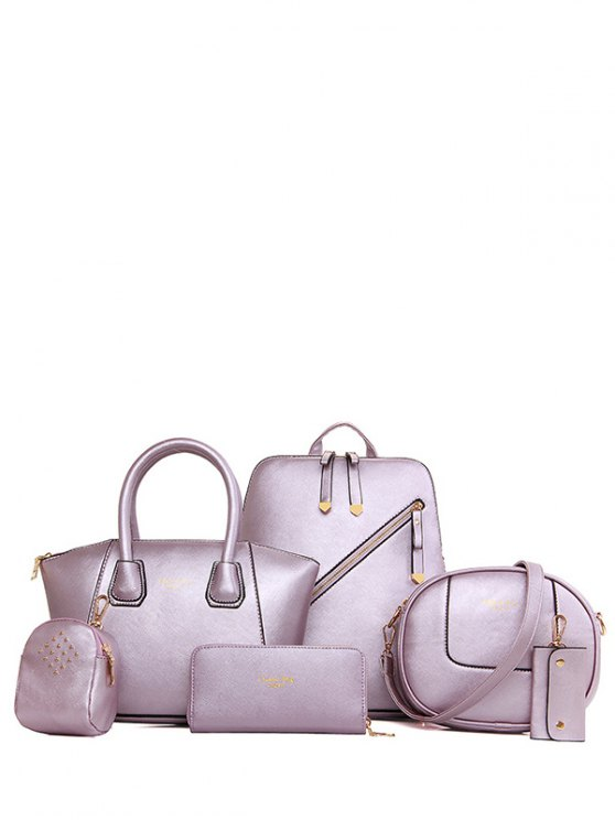 Color sólido Zipper metal Satchel - Morado Claro