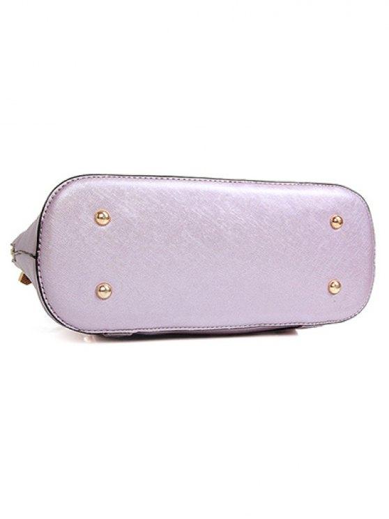 Solid Color Zipper Metal Satchel - BROWN  Mobile