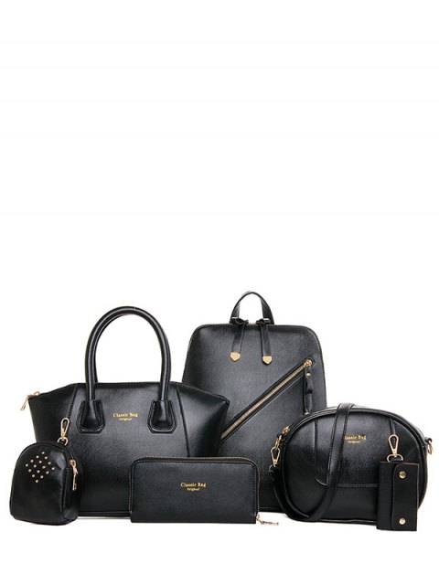 Solide Couleur Zipper Métal Satchel - Noir  Mobile