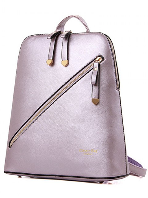hot Solid Color Zipper Metal Satchel - LIGHT PURPLE  Mobile