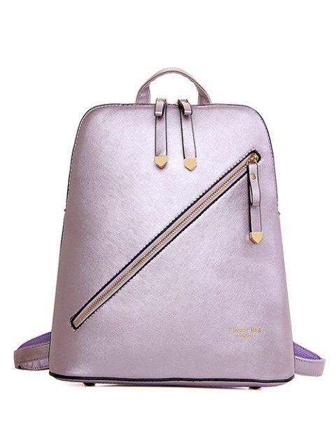 online Solid Color Zipper Metal Satchel - BROWN  Mobile