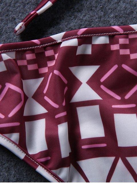 unique Spaghetti Straps Drawstring Print Bikini Set - RED M Mobile