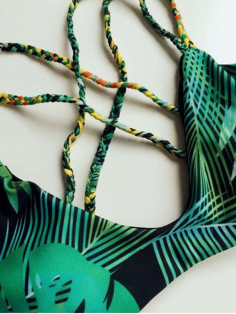 chic Braided Strap Printed Bikini - GREEN M Mobile