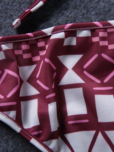 Spaghetti Straps Drawstring Print Bikini Set - RED M Mobile