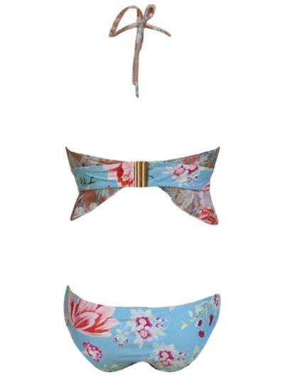 Halter Floral Print Flounce Ruffles Bikini Set - LIGHT BLUE M Mobile