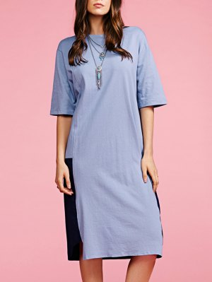 Color Block Round Neck Loose Fitting Dress - Gray