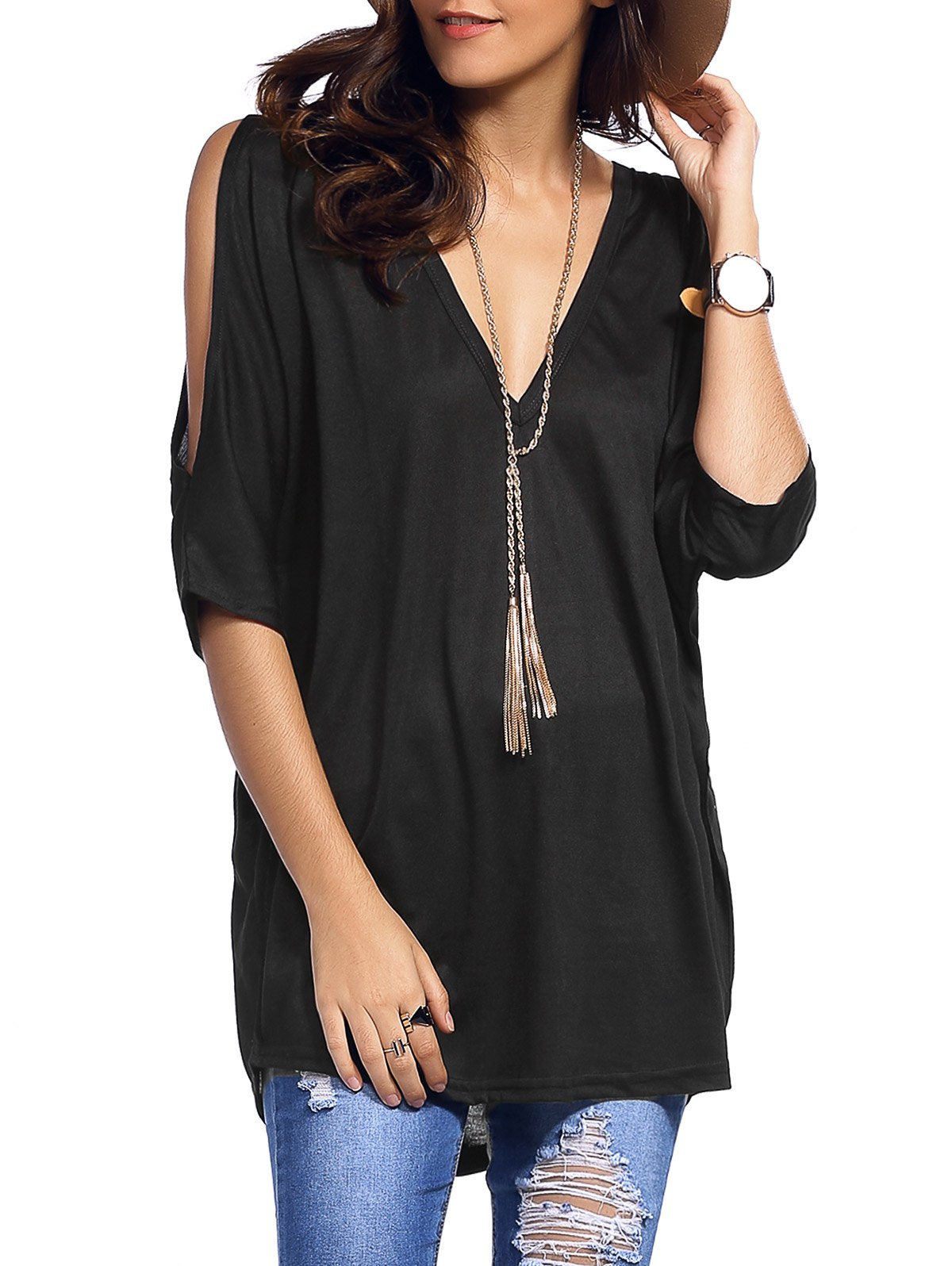Low Cut Cold Shoulder Asymmetrical T-Shirt