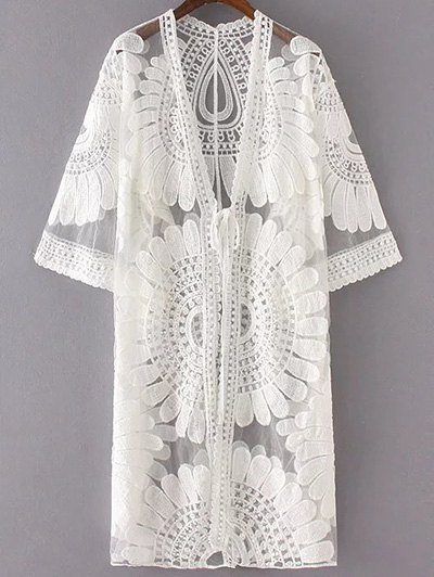 Sun Flower Embroidery 3/4 Sleeve Lace Cardigan