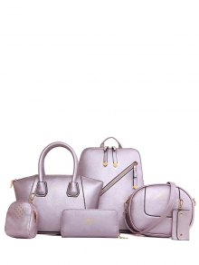 Solid Color Zipper Metal Satchel - Light Purple