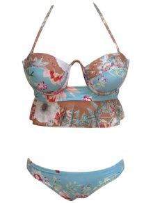 Halter Floral Print Flounce Ruffles Bikini Set