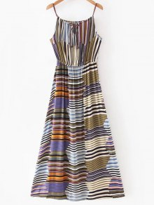 Multicolor Stripe Maxi Slip Dress