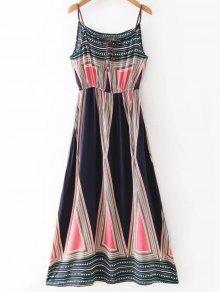 Geometric Print Maxi Slip Dress