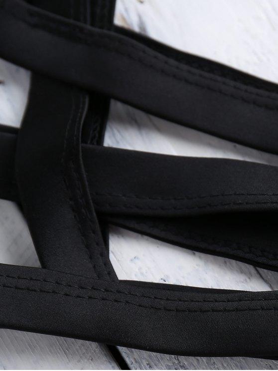 Black Halter Cut Out Bikini Set - BLACK S Mobile