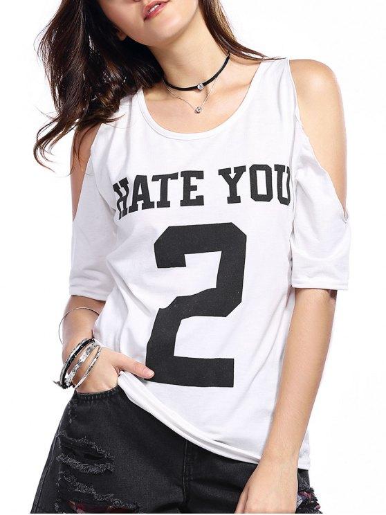 hot Number Print Round Neck Cold Shoulder T-Shirt - WHITE L