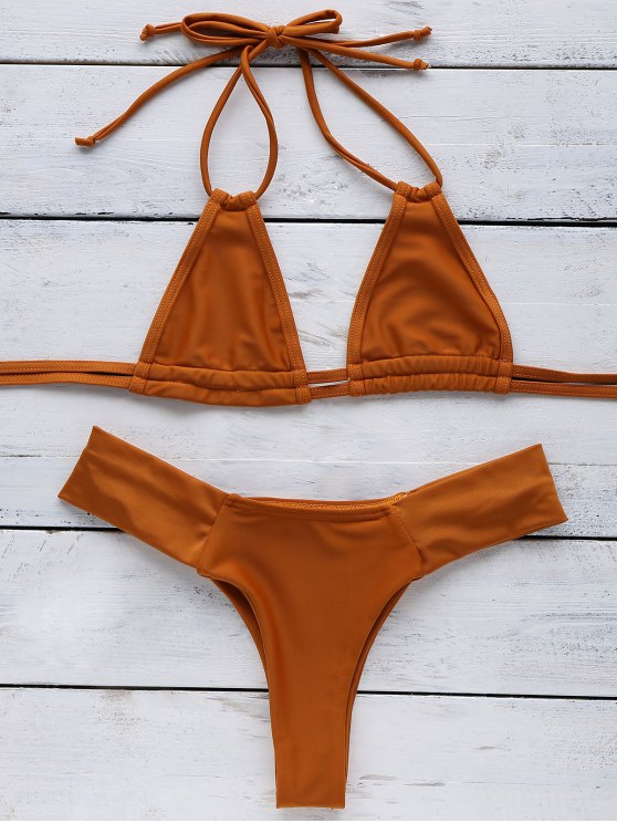 fashion Orange Halter Bikini - SWEET ORANGE S