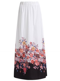 Floral Print Chiffon Maxi Skirt - White M