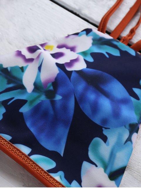 hot Strappy Floral Print Bikini Set - COLORMIX S Mobile