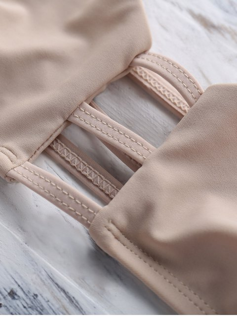 lady Geometric Pattern Unlined Cami Bikini Set - OFF-WHITE S Mobile