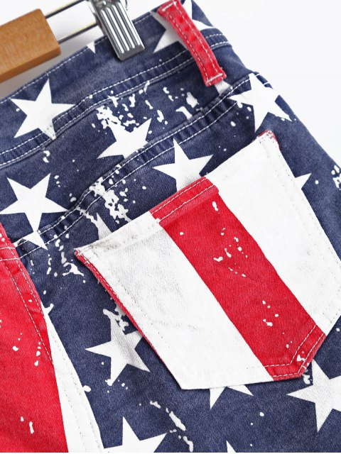 affordable American Flag Denim Shorts - COLORMIX M Mobile