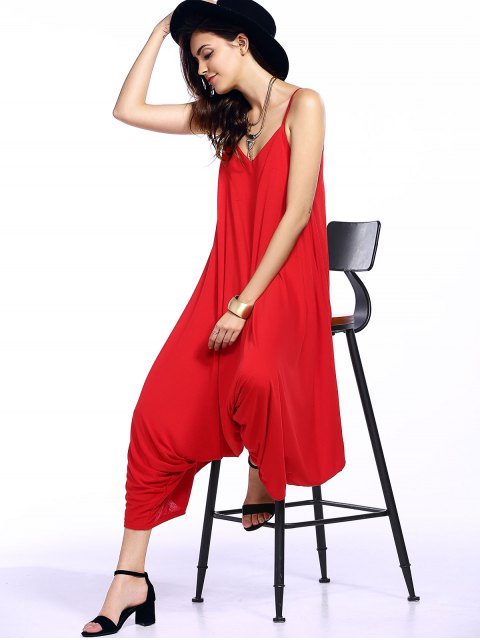 shop Solid Color Spaghetti Straps Loose Fitting Jumpsuit - RED M Mobile