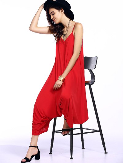 Solid Color Spaghetti Straps Loose Fitting Jumpsuit - RED M Mobile