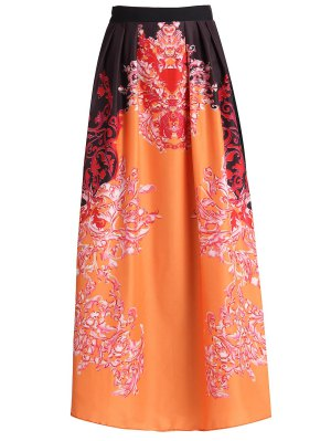 Abstract Print High Waisted Maxi Skirt