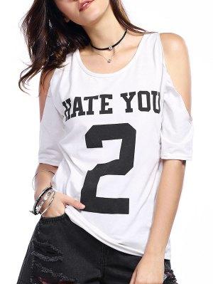 Number Print Round Neck Cold Shoulder T-Shirt - White