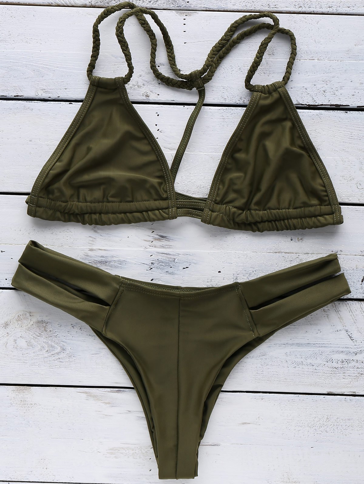 Halterneck Green Bikini Set
