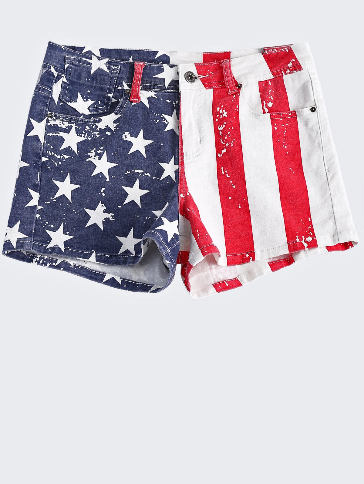 Washed American Flag Printing Denim Shorts For Women