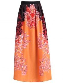 Abstract Print High Waisted Maxi Skirt