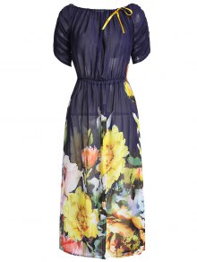 Slash Neck Large Flower Dress - Floral L