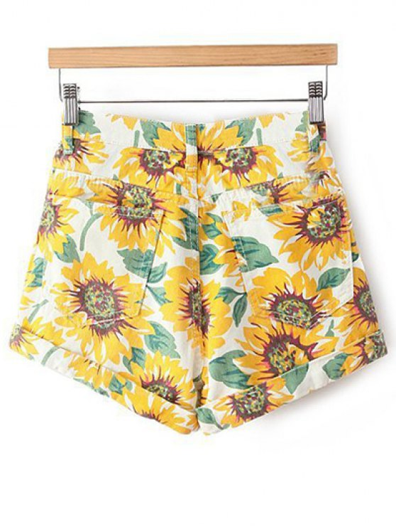 Sunflower Print Denim Shorts - YELLOW 27 Mobile