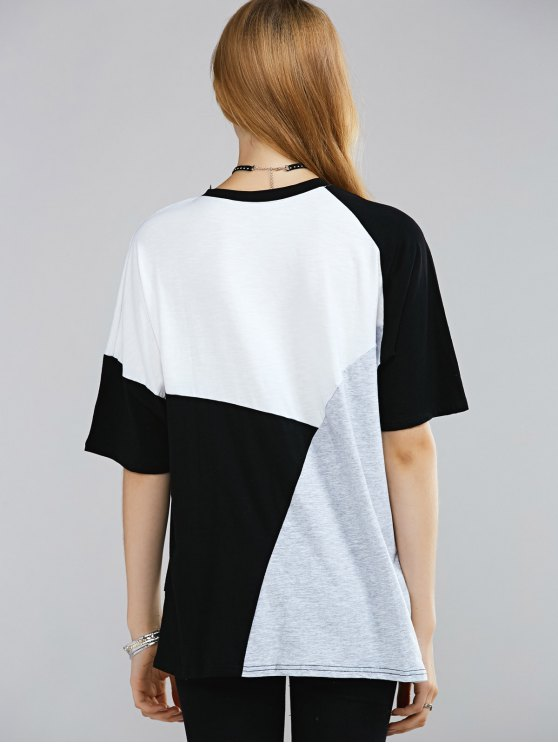 Color Block Round Neck Half Sleeve T-Shirt - WHITE AND BLACK ONE SIZE(FIT SIZE XS TO M) Mobile