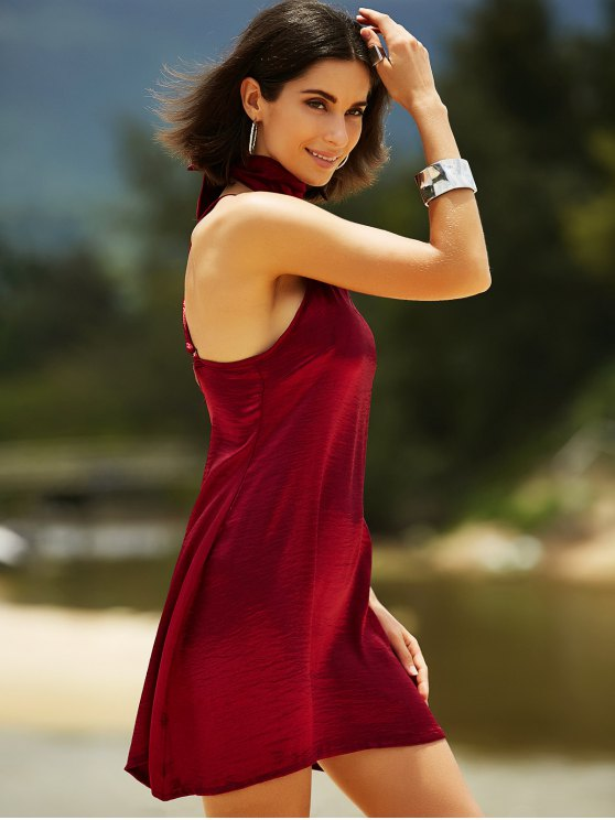 Pure Color Cami Satin Dress - WINE RED L Mobile