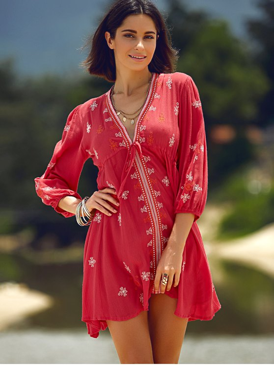 Retro Embroidery Plunging Neck 3/4 Sleeve Dress - RED L Mobile
