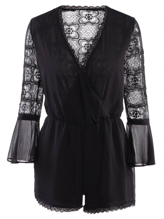ladies Lace Splicing See-Through Romper - BLACK XS