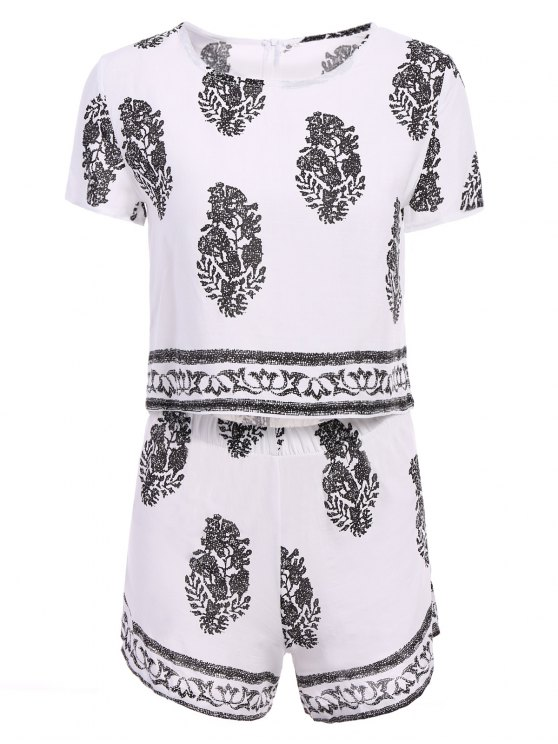 Short Sleeve Crop Top and Leaf Print Shorts Suit - WHITE L Mobile