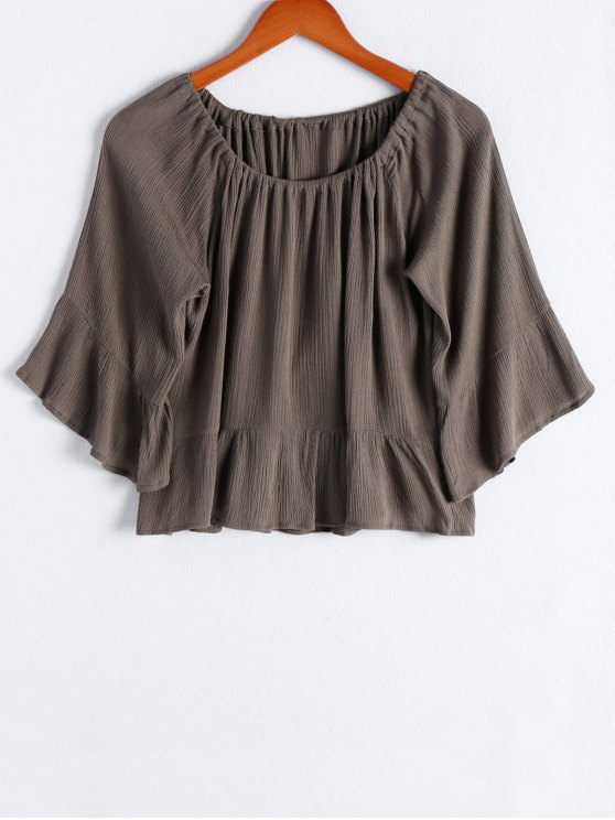 women's Off The Shoulder Flounce Ruffles Flare Sleeve Blouse - ARMY GREEN S