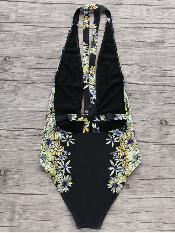 Floral One-Piece Plunge Swimsuit - BLACK XL Mobile