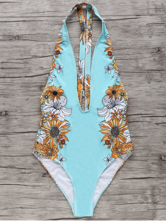 buy Floral One-Piece Plunge Swimsuit - LIGHT BLUE S