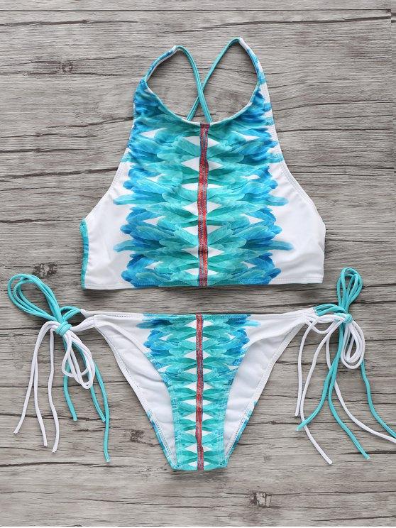 unique High-Neck String Bikini Set - WHITE AND GREEN S