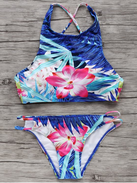 sale High-Neck Tropical Bikini Set - COLORMIX M