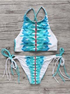 High-Neck String Bikini Set - White And Green M