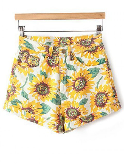 fashion Sunflower Print Denim Shorts - YELLOW 29 Mobile