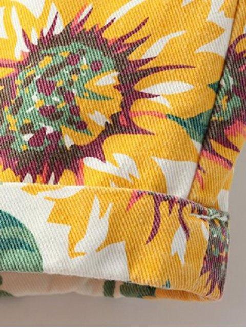 chic Sunflower Print Denim Shorts - YELLOW 28 Mobile